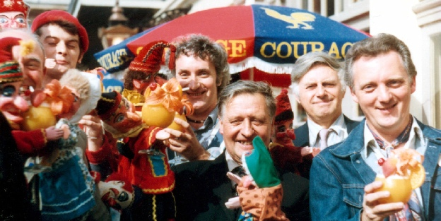 The founding members of the Punch & Judy Fellowship